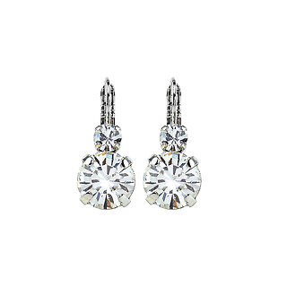 Lovable Double Stone Leverback Earrings in Clear - Rhodium